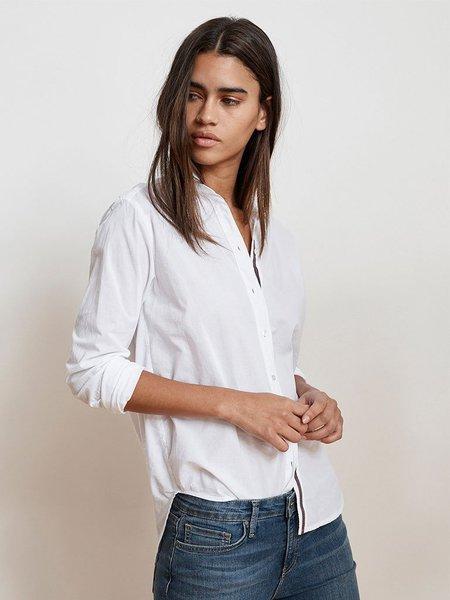 Velvet Candra Cotton Ticking Shirt - White
