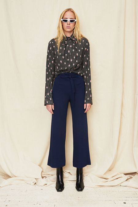 Assembly New York High Waist Tie Pant - Blue Twill