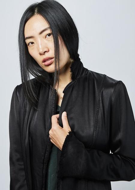 Jaga Mid Length Rayon Coat - black