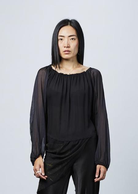 Jaga Sheer Sleeve Bias Top - black/gold
