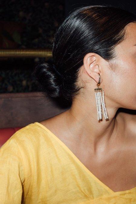 Faris Swing Pearl Earrings - Bronze/Pearl