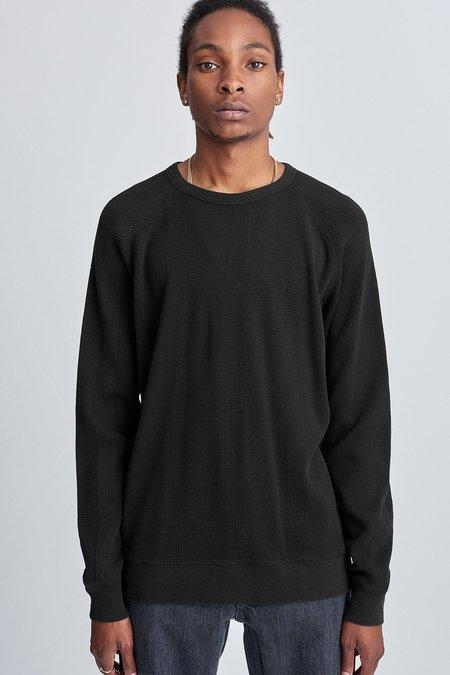 Saturdays Surf NYC Kasu Waffle Stripe Long Sleeve Shirt - Black