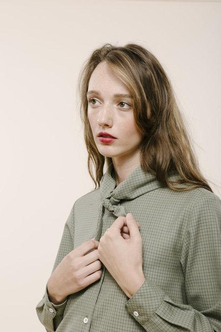 Carleen Bandana Neck Shirt - Sage Wool Plaid