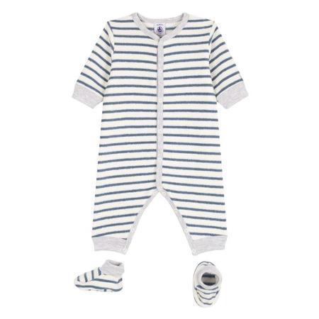 KIDS Petit Bateau Baby 2 Piece Set Pyjamas And Booties - White With Blue Stripes