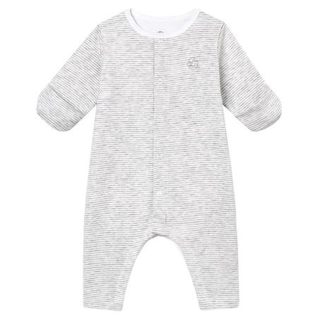 KIDS Petit Bateau Baby Pyjama - Grey And White Stripes