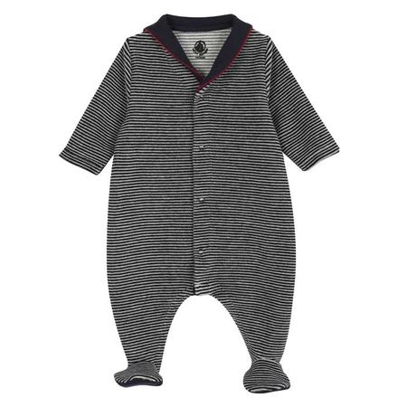 KIDS Petit Bateau Baby Pyjama With Feet And Collar - Blue And White Stripes Velour