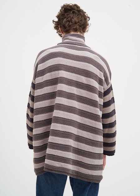 Sunnei Striped Chinille Sweater - Grey