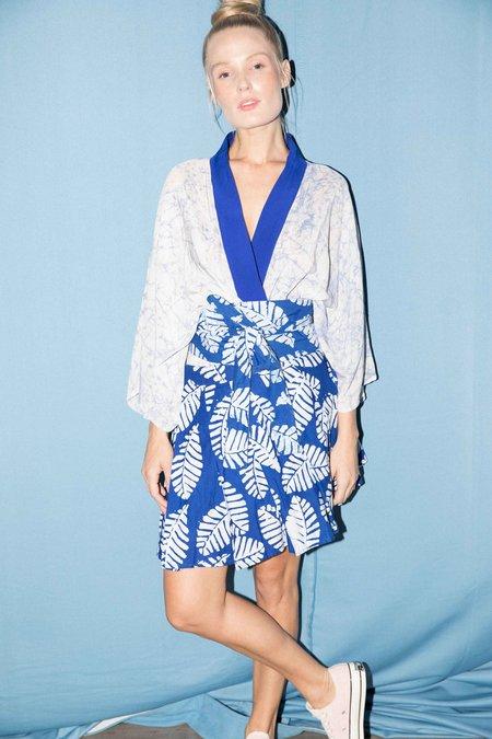 Studio One Eighty Nine Silk Short Kimono - Blue/White Lintea