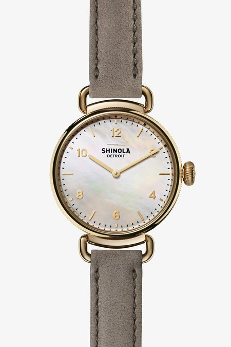 Shinola Canfield 32mm Watch - Mother of Pearl/Heather Gray