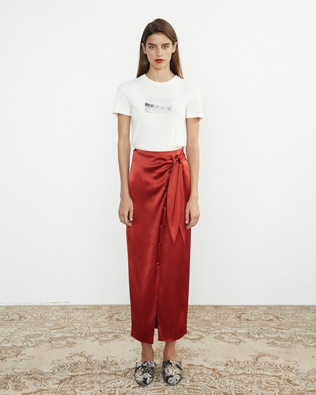 NANUSHKA Aries Satin Wrap Skirt - red