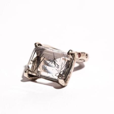 Unearthen Jewelry Lyrae Ring - Quartz/White & Red Sapphire/Silver