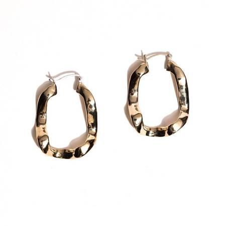 Open House Front Wave Earrings - Brass