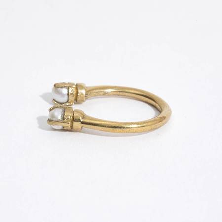 Aesa Single Wave Ring - BRONZE/PEARL