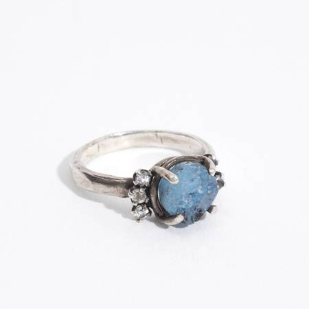 Unearthen Jewelry Bridge ring - blue geode/sapphires/silver