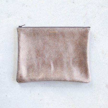 Tracey Tanner Large Flat Zip Pouch - Bronze Gold