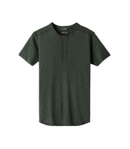 Wings + Horns 1x1 Slub Rib SS Henley - Jungle Green