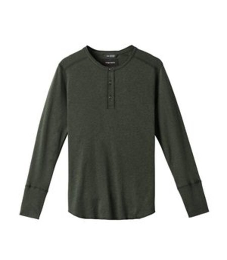 Wings + Horns 1x1 Slub Rib LS Henley - Jungle Green