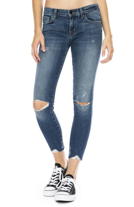 J Brand 9326 Low-Rise Crop Super Skinny Jeans - Revoke Destruct