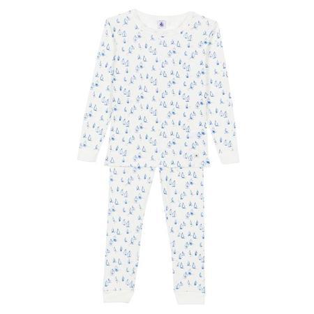 KIDS Petit Bateau Pyjamas - White With Blue Sailboats