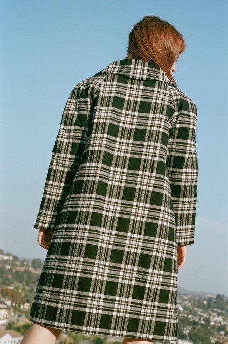 Vivien Ramsay Trench Coat - Black/White Plaid