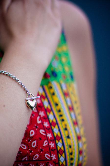 Muraco Wolfe Heart Lock Chain Bracelet - Gold/Silver