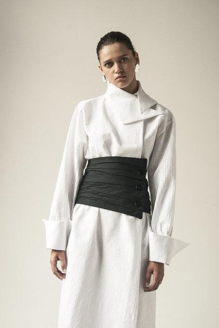K M by L A N G E Linen Puff Corset - Black
