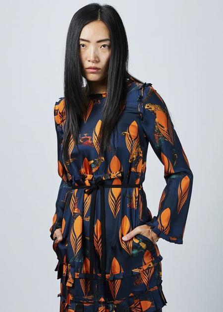 Odeeh Belted Ruffle Dress - navy/orange