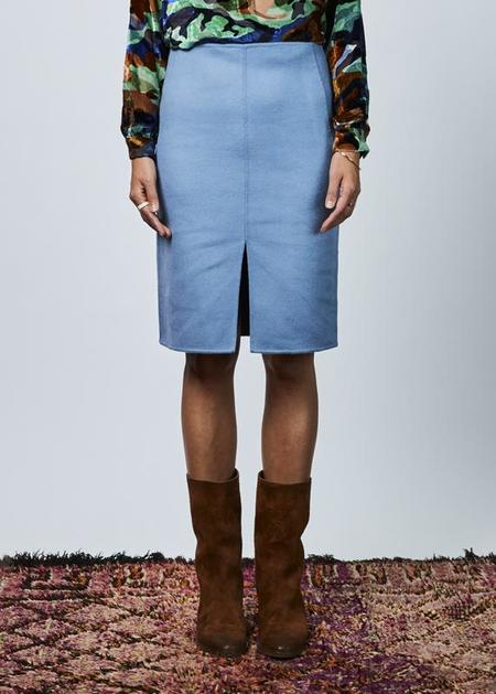 Odeeh Wool and Cashmere Blend Skirt - light blue