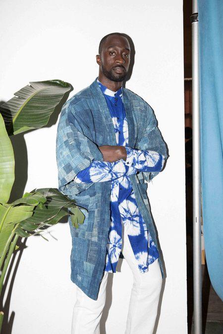 Studio One Eighty Nine Midi Kimono - Blue Patchwork