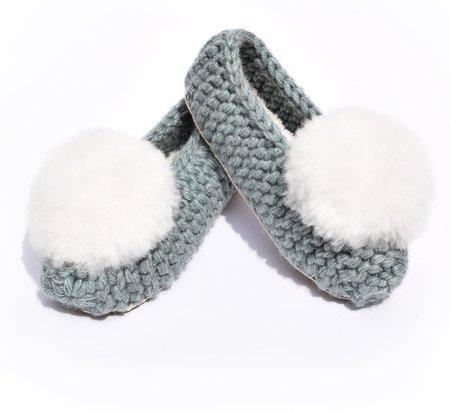 Ariana Bohling Ballerina Pom Alpaca Slipper - Mint