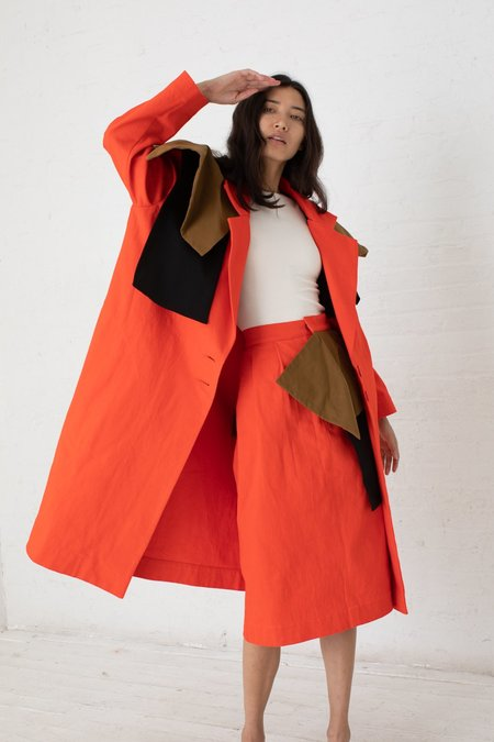 Nancy Stella Soto Capelet Denim Coat - Vermilion