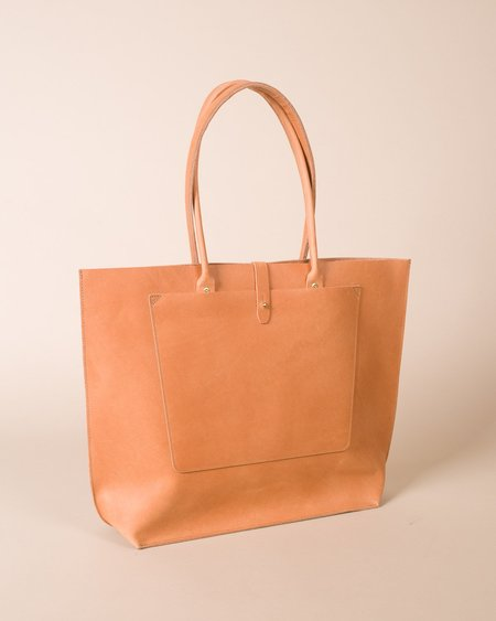 Wood&Faulk Structured Leather Tote Bag - Natural Beige