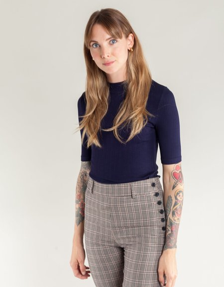Side Party Naoko High Crew Neck Half-Sleeve Ribbed Top - Navy