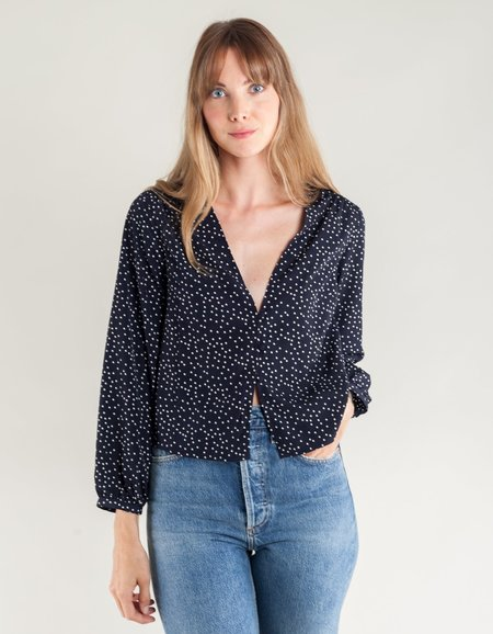 Side Party Sydney V-Neck Dotted Buttoned Blouse - Navy/White Dots