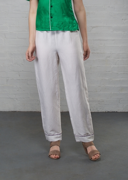 Creatures of Comfort PJ Silk Linen Pant - White