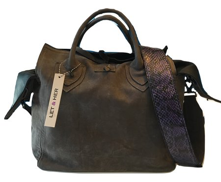 Let & Her Mid Size Tote Bag with Snake Strap - Grey