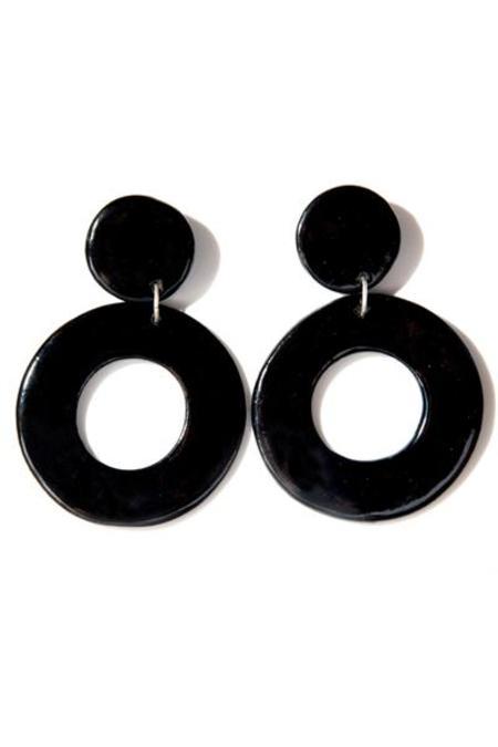 Levens Medium Circle Earrings - Black