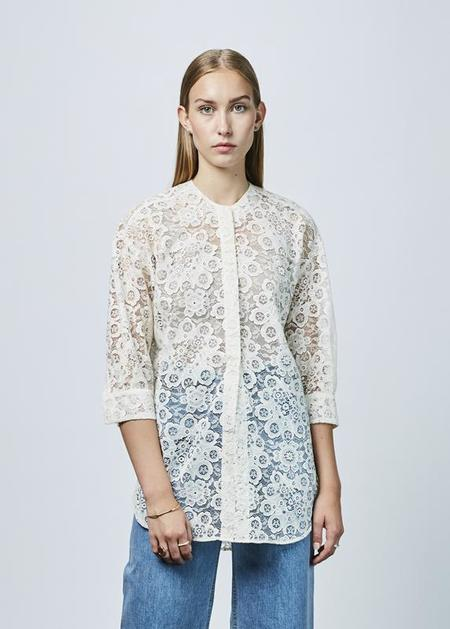 Sara Lanzi 3/4 Sleeve Lace Shirt - Off White