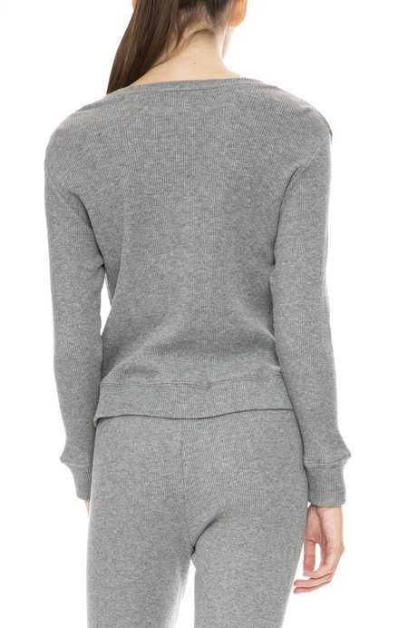 Enza Costa Cotton Cashmere Waffle Sweater