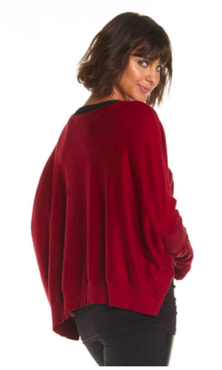 Planet Stitches Sweater - Burgundy Red