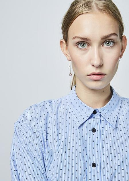 Lareida Allison Hi-Lo Shirt - Blue Stripe/Skulls