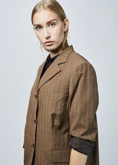 Ter et Bantine Lightweight Pinstripe Overcoat - Brown