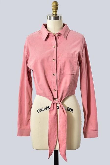 Trend Shop Cowboy-Boyfriend Corduroy Button-Down - Mustard