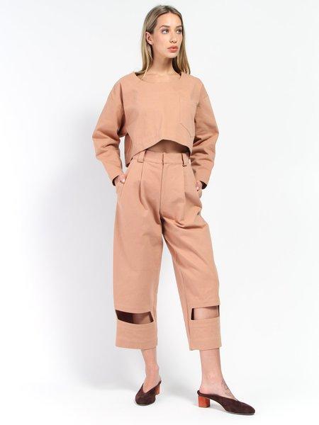 Nancy Stella Soto Rectangle Cutout Denim Trousers - Bare