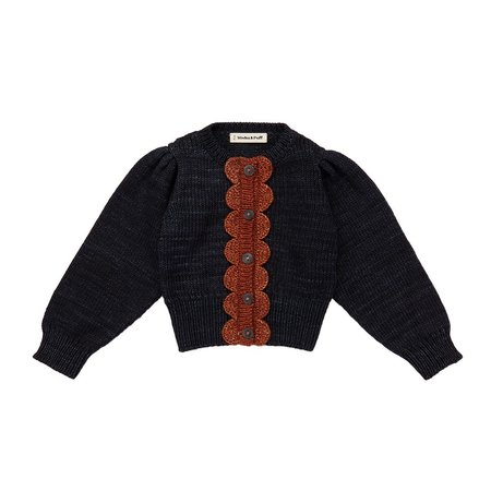 Kids Misha & Puff Scallop Cardigan - Midnight