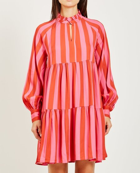Stine Goya JASMINE STRIPED TIER DRESS - RASPBERRY