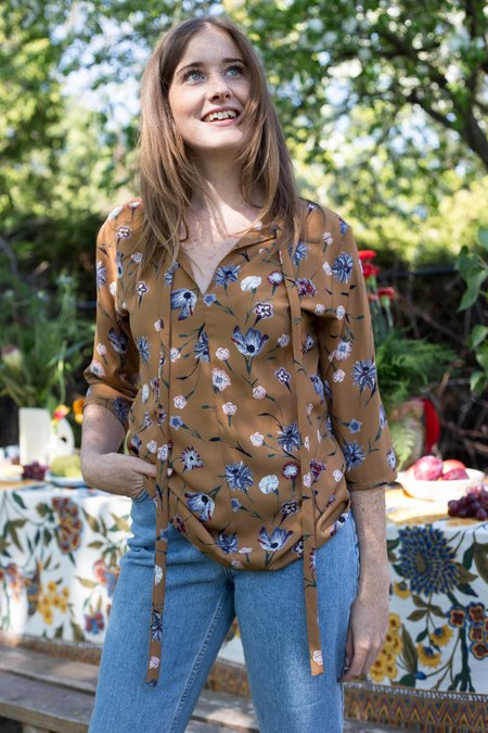 Dagg & Stacey Ingres Floral Top - Toffee