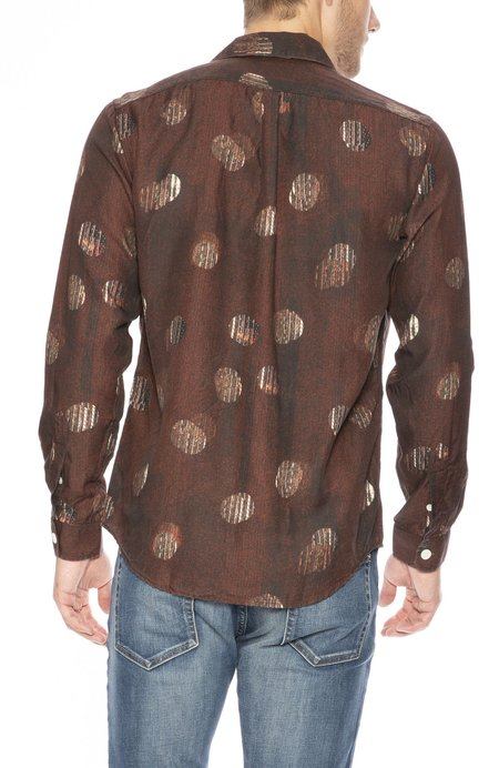 Schnayderman's Notch Collar Viscose Shirt - TV Noise Print