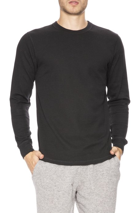 Sunspel Waffle Crew Neck Long Sleeve Top