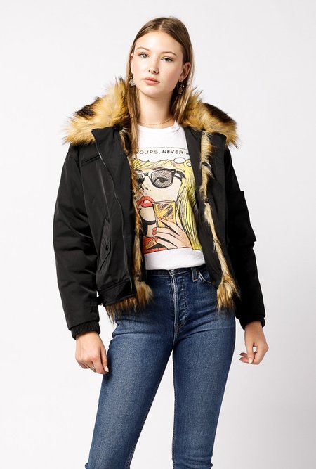 Doma Leather Fur Collar Waterproof Jacket